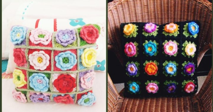 Amazing And Awesome Crochet Flowers Pillow /Cushions Covers Design And Pattern
