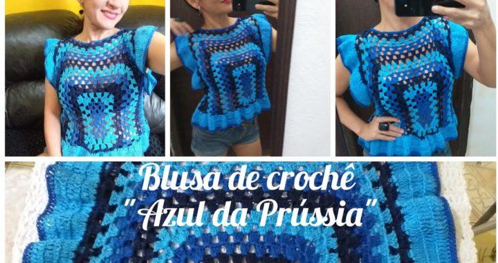 """Blusa de crochê """"Azul da Prússia"""" tutorial passo a passo fácil de fazer. #marcialobocroche #handmade"""