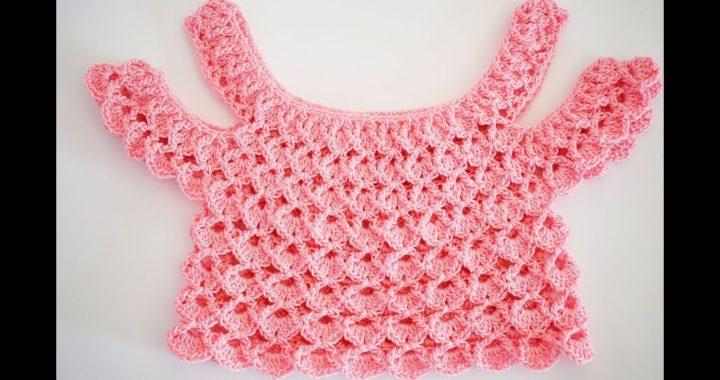 Blusa para niña  tipo top a crochet con hombros caidos  muy facil y rapida Majovel crochet