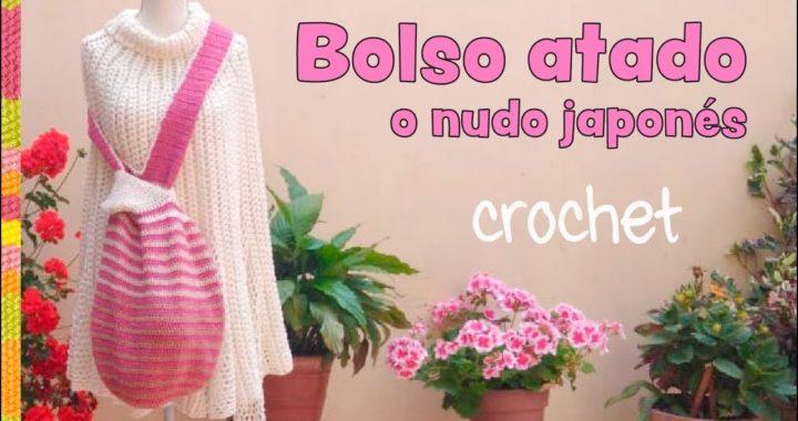 Bolso atado o nudo japonés XL tejido a crochet / Tejiendo Perú