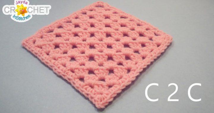 C2C Granny Square Crochet Pattern & Tutorial