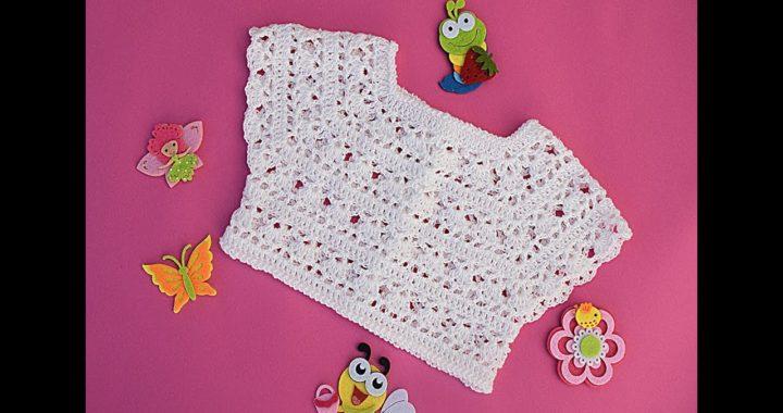 Canesú a crochet blanco para vestido de niña @Majovel crochet