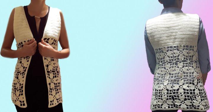 Chaleco a crochet - ganchillo - tejido para dama - facil y rapido - parte #1