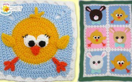 Chick & Bunny Baby Blanket - Crochet Pattern & Tutorial - Big Fancy Granny Squares