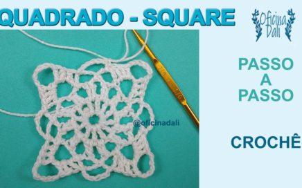 Como Fazer um Quadrado em Crochê Fácil - Cómo Hacer un Cuadrado Crochet Fácil - Square