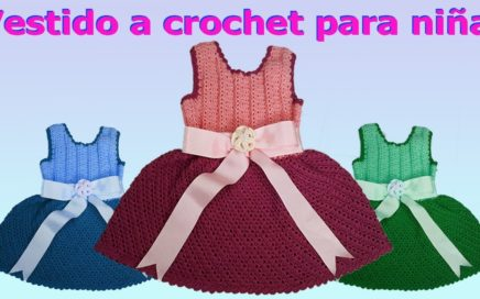 Como hacer Vestido de niña talla 4 a 6 años a crochet o ganchillo  - how to make crochet dress