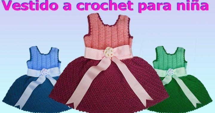 Como hacer Vestido de niña talla 4 a 6 años a crochet o ganchillo  - how to make crochet dress
