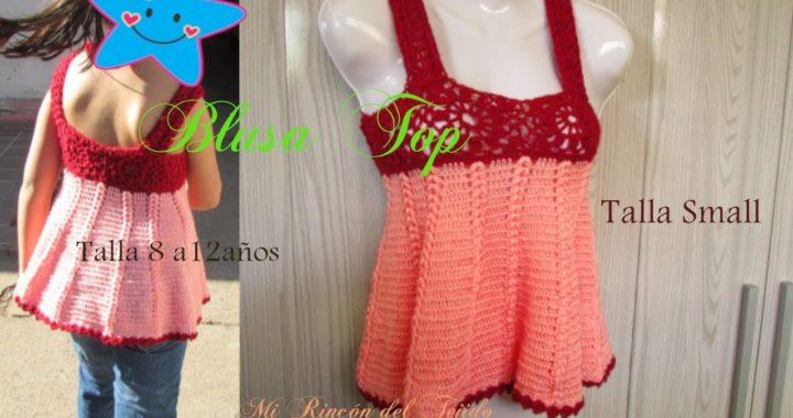Como tejer blusa top niña grannys crochet talla 10 - How to crochet top girl grannys size 10