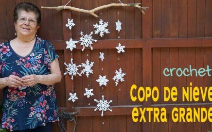 Copos de nieve XL de 2 HILERAS a crochet para colgante de rama ❄️ Tejiendo Perú