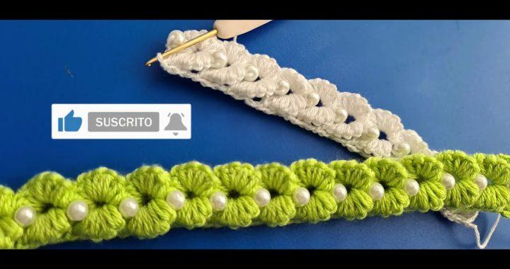 Cordón para DIADEMA en punto TRIDIMENSIONAL a crochet
