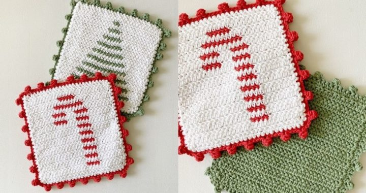 Crochet Candy Cane Stripe Hot Pad with Dot Border