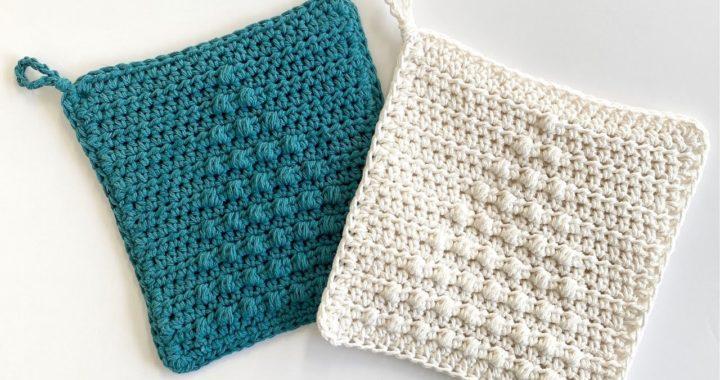 Crochet Christmas Tree Puff Hot Pad