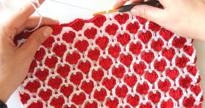 Crochet Cute Hearts Stitch / Easy Tutorial