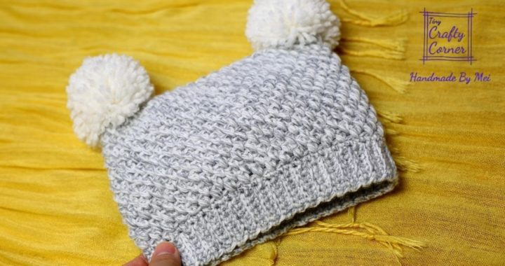 Crochet Easy Square Hat Tutorial With Pompoms For All Sizes, Beginner Friendly