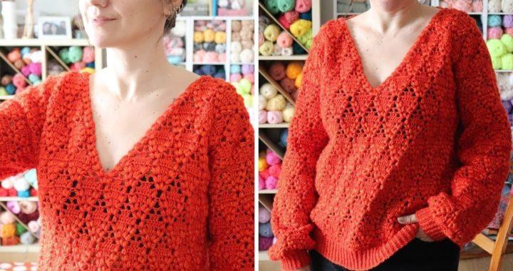 Crochet Easy V Neck  Sweater Pattern /  Beginner Friendly Tutorial