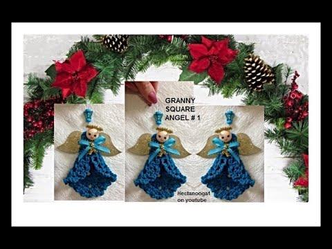 Crochet Pattern   Granny Square Angel # 1 Christmas Ornament
