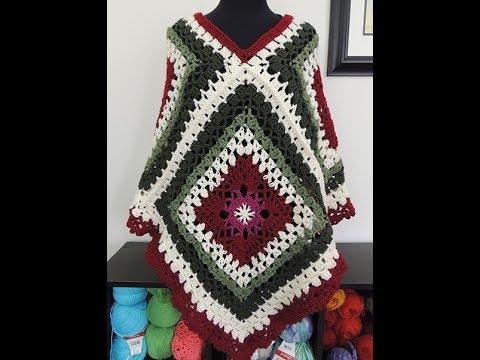 Crochet: Poncho con Cuadrados
