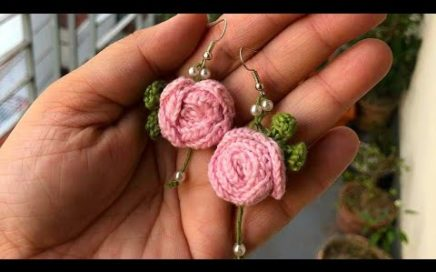 Crochet Rose Earrings Tutorial Step By Step