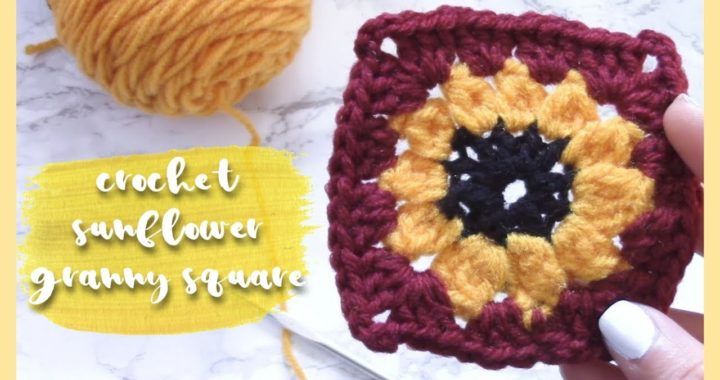 Crochet Sunflower Granny Square // 🌻