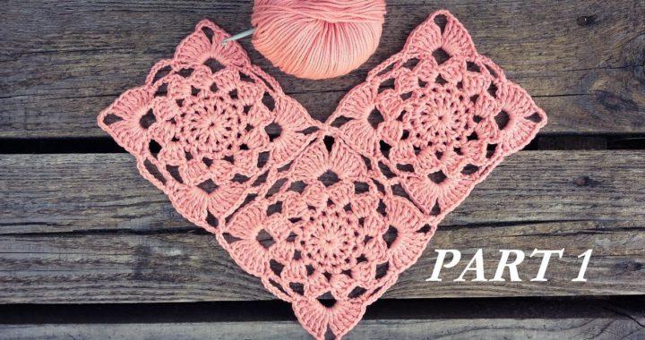 Crochet Sunset Flower Square Motif Tutorial Part 1