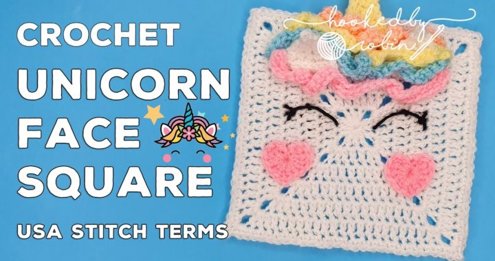 Crochet Unicorn Face Square 🦄 Unicorn Dreams Blanket CAL | Crochet Solid Granny Square Tutorial