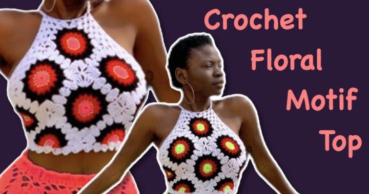 Crochet floral granny square motif top