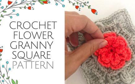 Crochet flower granny square [ pattern TUTORIAL]