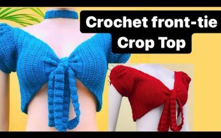 Crochet front-tie crop top tutorial