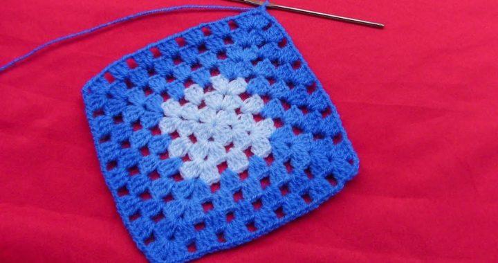 Cuadrado a crochet para colchas y cojines, tejido paso a paso