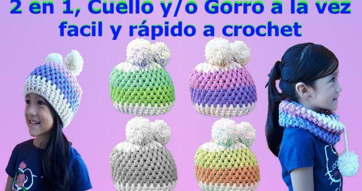 Cuello y Gorro a Crochet en Punto Puff muy facil y rapido de tejer
