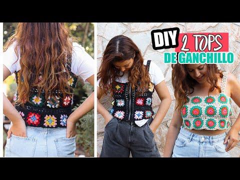 DIY 2 TOPS para OTOÑO en TENDENCIA *FÁCIL Y BARATO* 🌻 Cómo tejer un top de ganchillo