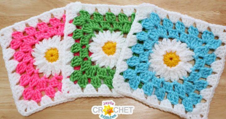 """Daisy Granny Square (6.5"""" Motif) Crochet Pattern & Tutorial"""