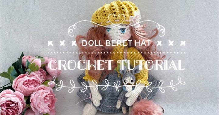 Doll Beret hat crochet tutorial 🧶 ( Tilda doll hat 👒 )
