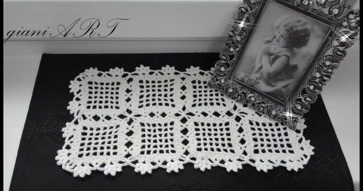 Easy Table Runner Crochet pattern | Filet square motifs