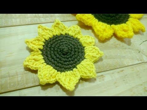 Flor Girasol tejido a crochet - Tutorial paso a paso