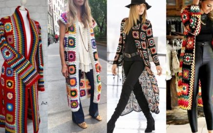 Good looking crochet Granny square pattetn long cardigan and jackets designs //winter fashion