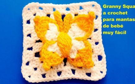 Granny Square o cuadro a crochet para mantas, cubrecamas, fundas para almohadas