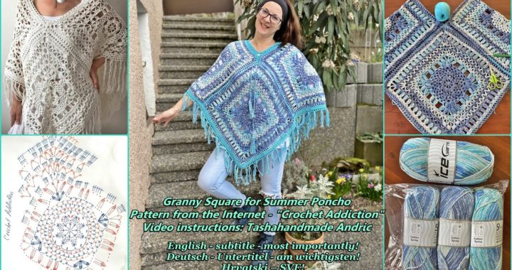 Granny Squares for Poncho (Pattern from internet - Crochet Addiction)