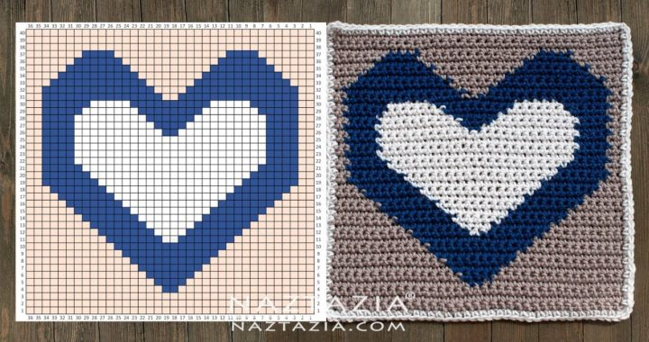 HOW to CROCHET REVERSIBLE HEART SQUARE - Picture Graph Chart for Blankets by Naztazia