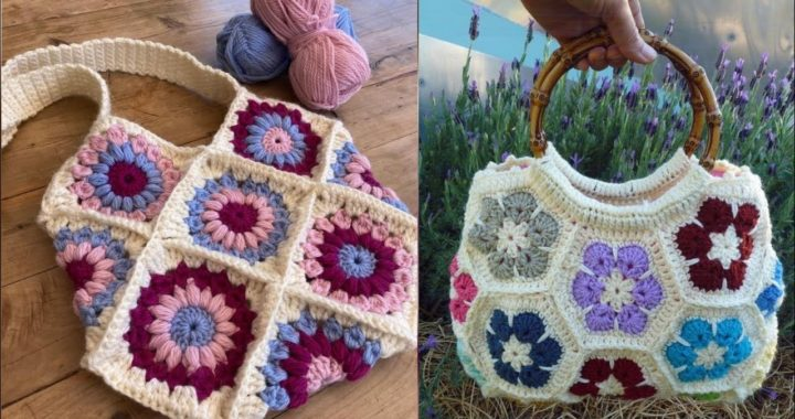 Hand made crochet granny square pattern shoulder bags designs ideas for women's#crochet tote bags
