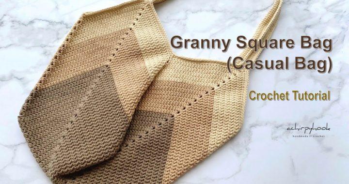 How to Crochet Granny Square Bag (Casual bag) - Tutorial | 钩针包包教程 | かぎ針編み [ENG SUB]