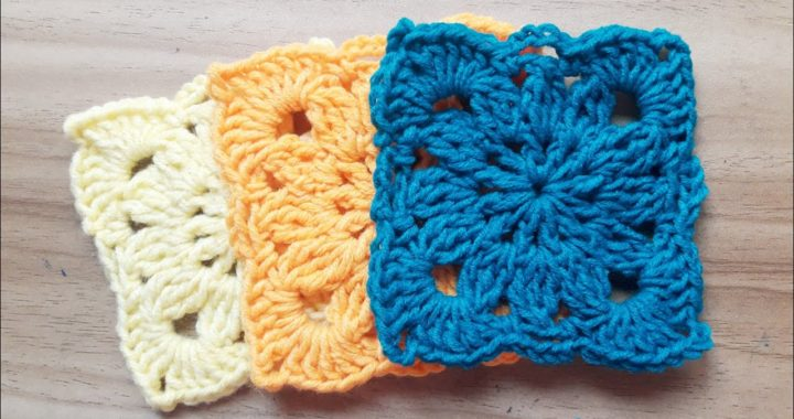 How to Crochet Square Pattern   Square Motif   Square Flower Coaster