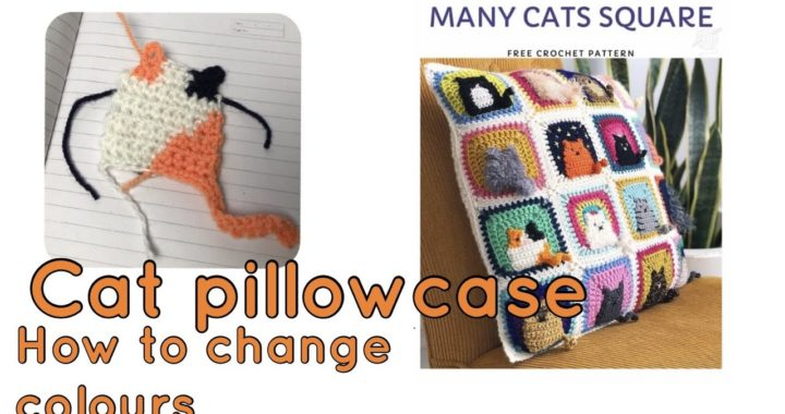 How to crochet Cat Pillowcase Cushion Cover with Easy Solid Granny Square. Part 3: Changing colours