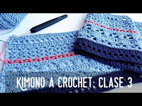 Kimono a Crochet. Nuevo Reto! Clase 3. #crochetycalma Cómo tejer una chaqueta kimono a crochet.