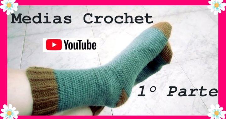 MEDIAS #calcetines o zoquetes en tejido crochet o ganchillo 1° Parte . (Moda a Crochet) 💖