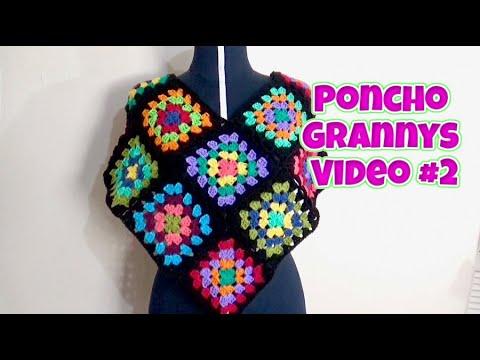 PONCHO TEJIDO CON CUADROS GRANNY VIDEO #2  DARLE LA FORMA DE PONCHO EN V
