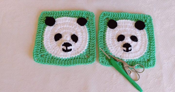 Panda Ayı kare motif yapılışı. Panda Crochet grannysquare tutorial. Panda bebek battaniyesi