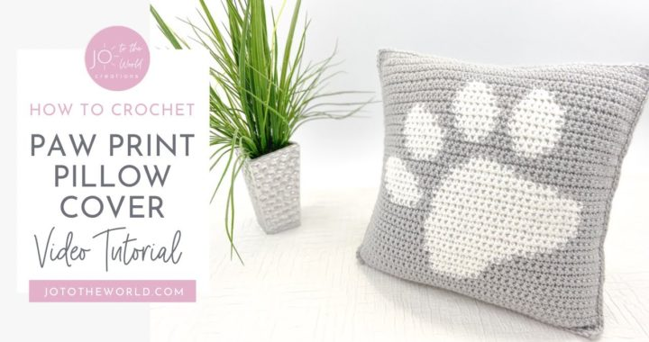 Paw Print Crochet Pillow Cover Video Tutorial