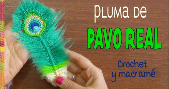 Plumas de Pavo real REVERSIBLES a crochet y macramé / English subtitles: Peacock feathers
