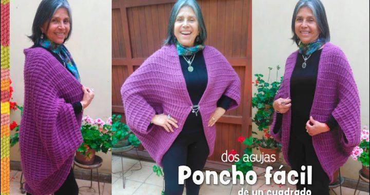 Poncho FÁCIL hecho de un cuadrado tejido a dos agujas / Tejiendo Perú